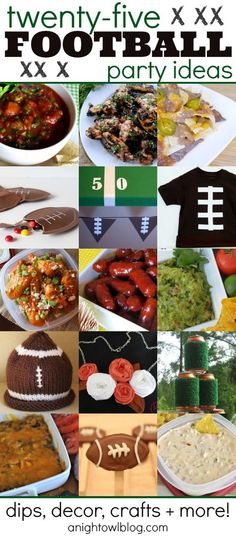 25 Football Party Ideas - Food, Crafts and More!   http://partyideacollections.blogspot.com