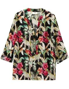 Pyrus Paola Leopard Blouse, a colourful printed black silk blouse with cropped sleeves and a v neck. This animal print silk top has is a versatile everyday piece for work wear or weekends. Black Silk Blouse, Silk Top, Dress Outfits, Fashion Dresses, Blouses Uk, Pyrus, Blouse Dress, Cheetah Print, Black Tops