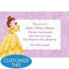 Beauty and the beast birthday invitation birthdays quinceanera belle on mini stars custom invitation girls birthday invitations custom invitations birthday invitations birthday party supplies categories stopboris Image collections