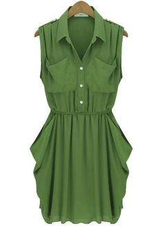 Army Green Sleeveless Twins Pockets Draped Side Chiffon Dress pictures
