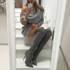 over the knee gray suede boots and gray off the shoulder sweater.. too cute