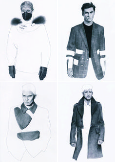 modern mens  fashions illustration  black white gray  fur jacket blazer pencil lines  || AcquireGarms.com