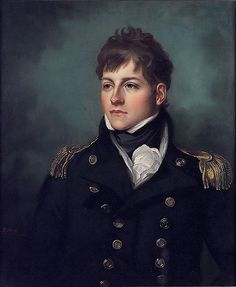1808  Captain George Miller Bligh (1780–1834) by Mather Brown  Officer of Royal Navy, service during French Revolutionary and Napoleonic Wars, eventually rising to Captain. Present aboard HMS Victory at Battle of Trafalgar, badly wounded during action. Taken below and was present in cockpit during death of Vice-Admiral Horatio Nelson. Bligh was only son of Admiral Richard Rodney Bligh en.wikipedia.org