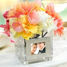 """Wedding Centerpiece Ideas:  I've purchased square glasses like these at Dollar Tree!  Find mats to fit or maybe cut them"""" out of beautiful scrapbooking paper."""