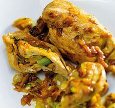Peitinhos de frango recheados com legumes