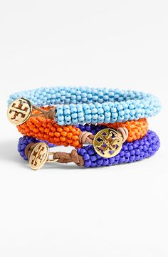 Tory Burch Bead Bracelets, perfect stack with a gold watch for a splash of color