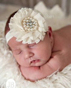 CHOOSE your COLOR ,baby headbands,Ivory headband, Pink Headband, Christening Headband,Shabby Chic Headband, Baptism Headband, Baby Headband.