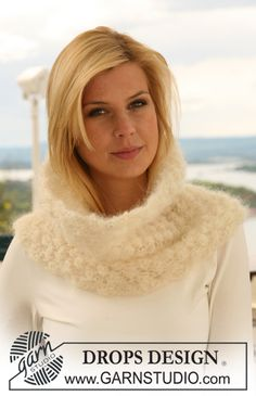 "DROPS 125-27 - Knitted DROPS neck warmer with berry pattern in ""Vienna"". - Free pattern by DROPS Design"