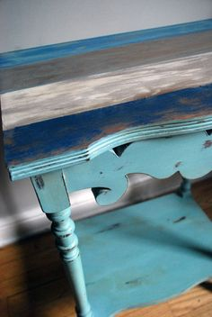 Striped Table Top finished with Napoleonic Blue, Old White and Duck Egg Blue Chalk Paint® decorative paint by Annie Sloan | By Ottawa, Canada stockist, Malenka Originals