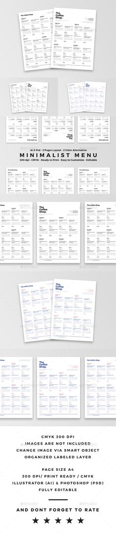 Minimalist Food Menu By Dannyaldana On Graphicriver This Is Perfect For Your Restaurant Promotion