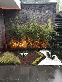 Love the light behind the bamboos and the pom pom tree Pond Design, Garden Landscape Design, Modern Landscaping, Front Yard Landscaping, Small Gardens, Outdoor Gardens, Minimalist Garden, Landscape Lighting, Shade Garden