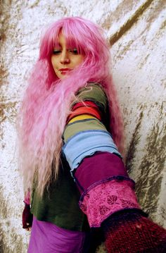 """#Scrapunzel - """"Get your Rainbow On"""" - Green and Rainbow Sleeved Patchwork Top"""