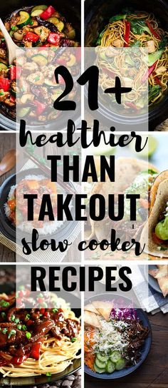 A collection of 21+ Healthier Than Takeout Slow Cooker Recipes to make at home. Best of all, these easy recipes are perfect for busy weeknights & way better