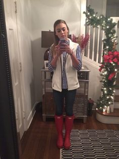 Flannel- Dillard's Vest- vineyard vines Boots- hunter And it's raining outside, perfect outfit!