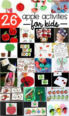 26 apple activities for kids! Learn and play with apples this fall with literacy activities, crafts, math and more all apple themed! Perfect for the fall or an apple unit with preschool and kindergarten kids! Preschool Apple Theme, Apple Activities, Autumn Activities For Kids, Preschool Activities, Preschool Apples, Kindergarten Apples, Apple Games, Educational Activities, Kindergarten Units