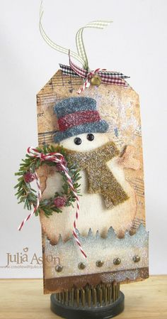 Ok - so every year I hear of Tim Holtz& 12 Tags of Christmas & but for some reason I never checked it out or realized that he create. Christmas Gift Tags, Xmas Cards, All Things Christmas, Handmade Christmas, Christmas Ornaments, Winter Christmas, Handmade Tags, Paper Tags, Winter Cards