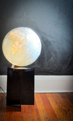 Vintage National Geographic Globe Lamp with Black by drowsySwords, $140.00