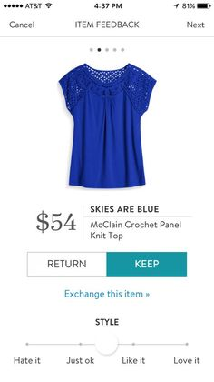 Skies Are Blue McClain Crochet Panel Knit Top. I love Stitch Fix! A personalized styling service and it's amazing!! Simply fill out a style profile with sizing and preferences. Then your very own stylist selects 5 pieces to send to you to try out at home. Keep what you love and return what you don't. Only a $20 fee which is also applied to anything you keep. Plus, if you keep all 5 pieces you get 25% off! Free shipping both ways. Schedule your first fix using the link below! #stitchfix…