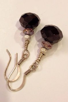 Crystal and silver beaded earrings by daretodangle on Etsy, $10.95