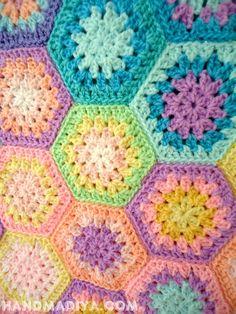 Сумка из шестигранных мотивов.  Knit crochet bag