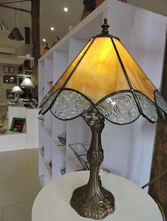 Amber and florial lamp by Volcania Art Glass... lovely warm glow. $295au