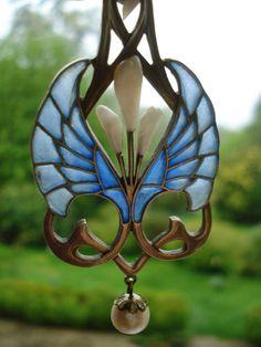 Antique Art Nouveau Plique A Jour HL Heinrich Levinger Jugendstil Fensteremaille   eBay
