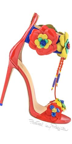 Summer Coral Patent Leather Sandal w Floral Details 2015