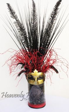 Masquerade Ball Mask Centerpiece. Created by HeavenlyHandsPartyCreationsbyV on Facebook!!