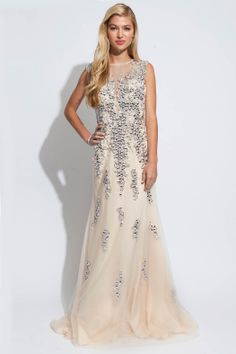 Jovani floor length sleeveless beaded gown