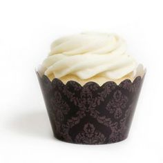 Brown Damask Cupcake Wrappers- Cupcakewrappers.ca