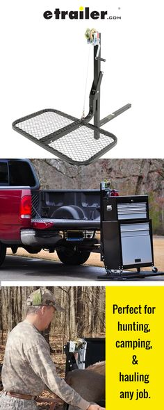 Lift and load your game or gear into your truck bed with the SwiveLift. The winch-powered platform can be raised up above your tailgate and swiveled 360 degrees so that you can easily load your kill or cargo into your truck bed. Gifts For Hunters, Any Job, Hunting Gear, Truck Bed, Custom Trucks, Camper Van, Thoughtful Gifts, Vikings, Vehicle