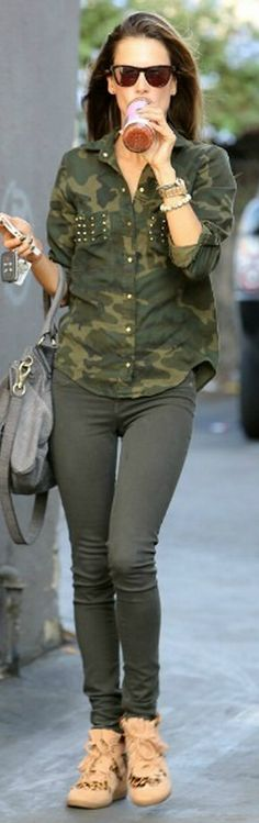Who made  Alessandra Ambrosio's watch, green studded top, gray handbag, and black sunglasses that she wore in Los Angeles?