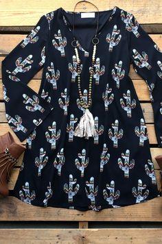 Tumbling Tumbleweeds Dress- Black $50.99! #southernfriedchics #cactus #western #dress