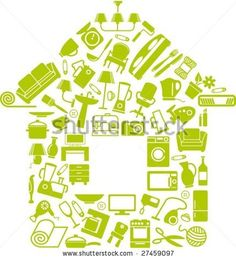 Very house-like. What shapes could the montage be made of: people? logos? Words? Or just an image of light? stock vector : Symbols of furniture, home appliances and ware make the house