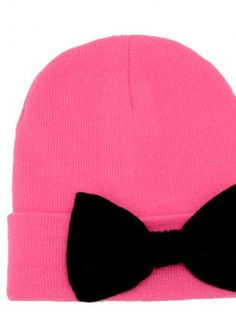 Hot Pink Beanie with Bow,  Accessory, hot pink  bow  beanie, Chic