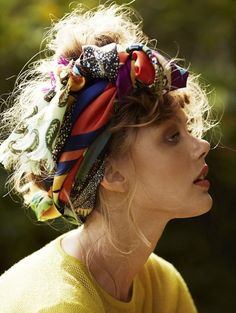 Frida Gustavsson in patchwork prints boho headband | fashion editorial. #scarf