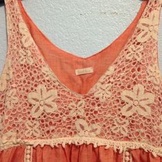 """Linen tank top Beachy dark peach sleeveless top. It has beautiful embroidery throughout. I always get compliments when I wear it:) 28"""" long and 15"""" across the bust. Tops"""