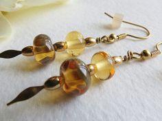 Jewelry Dangle Earrings Beige Tones Lampwork Beads by Smokeylady54