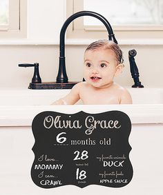 Look what I found on #zulily! Black Script Personalized Baby Chalkboard Sign #zulilyfinds