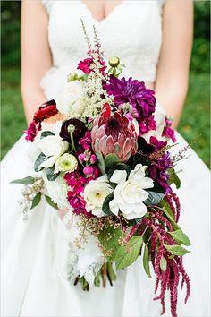 Beautiful purple and white wedding bouquet @weddingchicks