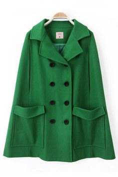 Magnificent Green Wool Cape
