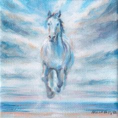 Horse Original Miniature Painting - white stallion galloping from clouds over ocean and beach, acrylic on canvas, handmade art Happy Paintings, Your Paintings, Acrylic Painting Canvas, Canvas Art, Original Art, Original Paintings, Horse Galloping, Realism Art, Buy Prints