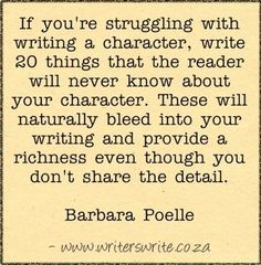 20 things the reader doesn't know about the character.