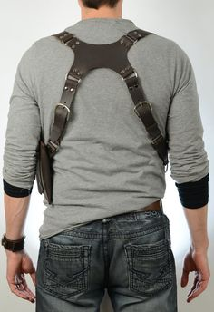 Discounted. Drake Leather Chest Harness in Dark Brown. Leather has some minor marks on back piece and pouch as seen in pictures. Final Sale
