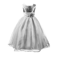 Acecharming Girls' Sequin Satin Tulle Wedding Pageant Flower Girl Party Dress Size US 14/11-12years Silver