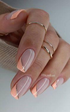 Chic Nails, Stylish Nails, Glam Nails, Chic Nail Art, Neutral Nail Art, Casual Nails, Gorgeous Nails, Pretty Nails, Ongles Beiges