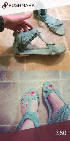 Light turquoise fringe sandals✨✨✨ NEW Gorgeous light turquoise/mint greenish colored fringe Seychelles gladiator style sandals, purchased from Nordstrom for 110$. Real leather, made in India. Size 8.5- true to size. Brand new without original box. Never worn. No flaws.  Serving in the US NAVY, deploying soon. Everything must go!  •Same day/24 hour shipping ••Accept ALL reasonable  offers •Bundles encouraged ••Pet/smoke free home  Feel free to ask any questions! Thanks for looking!❤️…