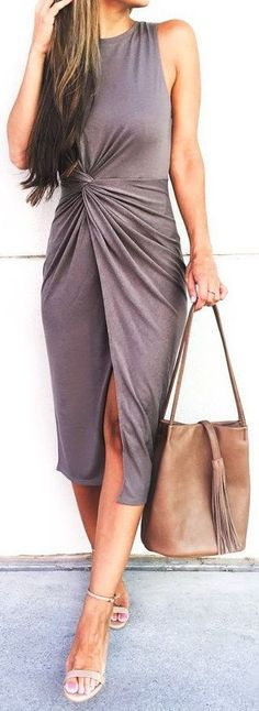 #summer #outfits / gray knotted dress