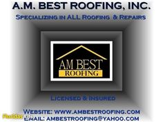 "A.M. BEST ROOFING ""DON'T STRESS"" CALL A.M. BEST (ESTIMATES & INSPECTIONS) A.M. BEST ROOFING, INC. has provided service in the South Florida and Central Florida areas ..."