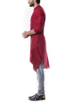 Maroon Cowl Kurta with Grey Churidar. Mens Indian Wear, Indian Groom Wear, Indian Men Fashion, Designer Dress For Men, Designer Clothing, Punjabi Kurta Pajama Men, Maroon Dress Shirt, Gents Kurta Design, Mens Sherwani